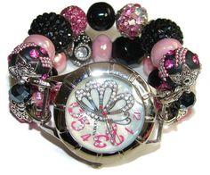 Black and Pink Chunky Beaded Watch Interchangeable by BeadsnTime