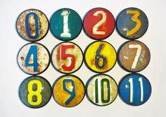 Grunge verrostet Nummernschild Anzahl Knöpfe - Metal Print, schäbig, Steampunk, Garage Kabinett, Mancave, Industrial, Kommode Schublade Pull - 815P 31