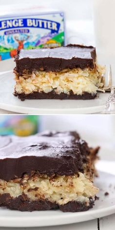 These Almond Joy Bars are a coconut lover's dream come true! This easy dessert idea starts with rich, gooey coconut filling over a homemade chocolate cookie crust and topped with a decadent ganache. Pin these simple sweet treats! Elegant Desserts, Desserts For A Crowd, Fancy Desserts, Beautiful Desserts, Dessert Recipes, Easy Impressive Dessert, I Am Baker, Butter, Almond Joy