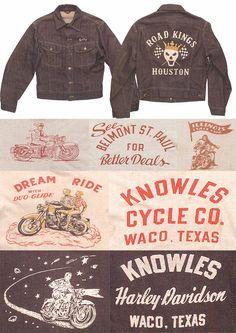 Biker Graphics More Cool Biker Leathers Bell shape Pockets Vintage Biker, Vintage Wear, Vintage Outfits, Vintage Fashion, Vintage Cycles, Herve, Tee Shirt Designs, Vintage Labels, Men's Collection
