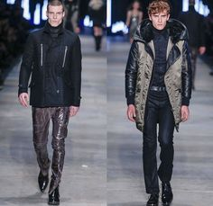 Diesel Black Gold 2014-2015 Fall Autumn Winter Mens Runway Looks Fashion - Pitti Immagine Uomo 85 - Metallic Silver Motorcycle Biker Rider Racer Leather Jacket Knee Panels Bomber Jacket Emblem Patchwork Zippers Studs Military Officer Outerwear Pea Coat Parka Blazer Turtleneck Checks Chunky Knit Sweater Jumper