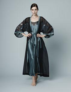 Meng AW14 luxury loungewear - Zodiac print silk georgette satin - kimono - black