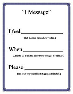 """I Message"" Poster for Conflict Resolution Counseling PBIS Character Ed"