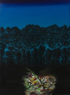 Juhani Linnovaara: Yöllinen kohtaaminen, 1979, guassi, 117x86 cm - Hagelstam K138
