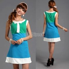 $12.80 Blue Green Splicing White Bowknot Sleeveless Slim A- Line Dress