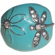 Sterling Silver Ring with Blue Enameling & Dragonfly with Stones