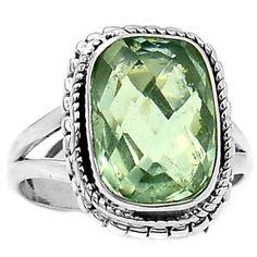 Green-Amethyst-925-Sterling-Silver-Ring-Jewelry-s-8-SR136393