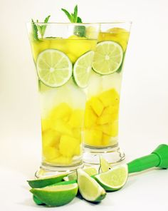 SPEED UP YOUR WEIGHT LOSS!! Free METABOLISM BOOSTING drink recipes like this Day Spa Mango Mojito Water at www.loseweightbyeating.com