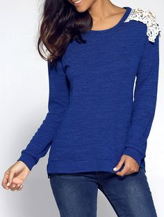 Lace Splicing Pullover Sweater