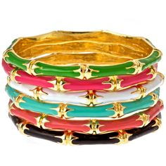 Enamel Bamboo Bangles ($18) ❤ liked on Polyvore
