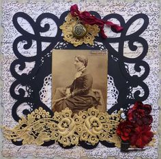Gorgeous Art Nouveau styled heritage layout with a beautiful scrolled frame...AND it would also make a wonderful framed keepsake.