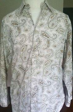 Men's Tommy Hilfiger Button Up Paisley Long Sleeve Rockabilly Tan Size Medium #TommyHilfiger #ButtonFront