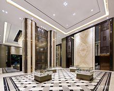 奥 迅 设 计 ocean design 五 星 级-工 装 в 2019 г. lobby design, home room design и l Lobby Interior, Luxury Interior, Interior Design, Column Design, Floor Design, Columns Decor, Interior Columns, Home Room Design, House Design