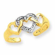 14k Rhodium Diamond Heart Toe Ring RedBoxJewels.com. $124.95