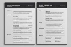 Two Pages Classic Resume CV Template - Resumes