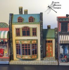 Laura Denison Designs with Maple Street Manor, a paper and chipboard structure with two mini albums w/video tutorials; Nov 2015  #lauradenison #lauradenisondesigns #followingthepapertrail