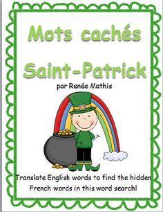 Une activité amusante pour encourager vos élèves à apprendre le vocabulaire français de la Saint-Patrick! Une liste de mot en anglais doit être traduise en français, en utilisant le dictionnaire. Puis, les élèves cherchent ces mots dans la grille de mots cachés! Réponses incluses.  $1.50
