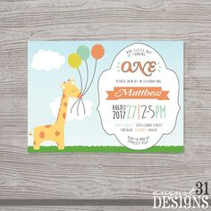 Giraffe with Balloons First Birthday Invitation by August31Designs