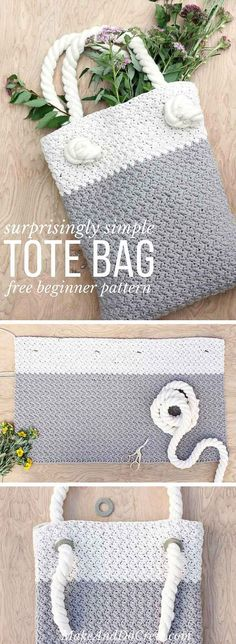 Easy crochet tote bag with video to show you how to create the simple stitch required. Love the t-shirt type yarn used in this bag!