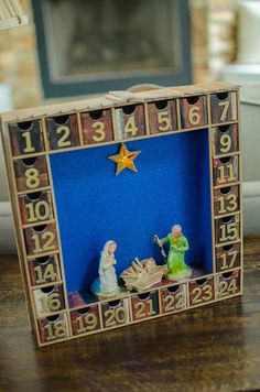 Wooden Advent Calendar Ornaments With The 12 Days Of