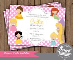 Disney Princess Invitation Birthday Party Inspired by 2SweetTeas
