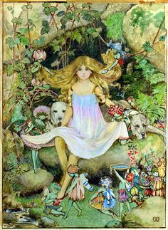 """ATKINSON Maud Tindall  """"Pansy with the Fairies"""". Initialled Watercolour  (186 x 139mm).  Frontispiece to """"Lady Ann's Fairy Book""""  by Catherine Milnes Gaskell. Small 4to  London: Grant Richards  1914."""