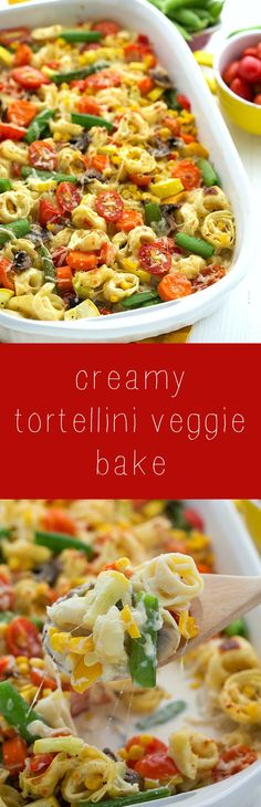 Creamy Tortellini and Vegetable Bake- filled with summer veggies! This bake is sure to be a crowd pleaser!