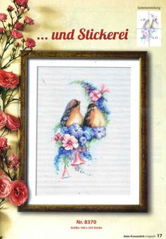 (5) Gallery.ru / Фото #17 - Dein Kreuzstich Magazin 5 2015 - alvaraya Cross Stitch Bird, Cross Stitch Designs, Natural Forms, Birds, Frame, Decor, Album, Gallery, Log Projects