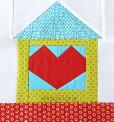 House Quilt Block Pattern - Home is where your heart is and this quilt block is perfect for that! Link to a paper piecing video tutorial too.