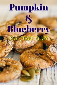 Wholesome Pumpkin Blueberry Dog Treat Recipe - These hearty pumpkin blueberry dog treats are packed with nutritious goodness and the perfect combi - Dog Cookie Recipes, Easy Dog Treat Recipes, Homemade Dog Cookies, Dog Biscuit Recipes, Homemade Dog Food, Dog Food Recipes, Puppy Treats, Diy Dog Treats, Healthy Dog Treats
