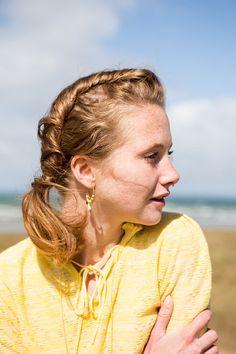 yellow tassel hoop earrings