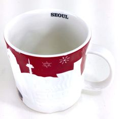 Starbucks Seoul South Korea RED MUG Relief 16 oz Christmas Cup Microwave 2013 #Starbucks