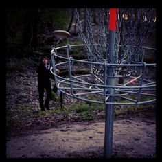 Made of galvanized steel, disc golf baskets come in several makes and models. This basket, a Chainstar, comes from Disc Golf Association.