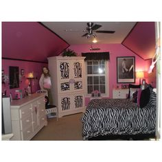 Girls Bedroom Zebra hot pink and zebra dresser. so gotta do this for the girls room