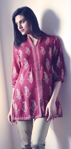 Kurta with tailored trousers, in this style with similar colour and textural combinations.