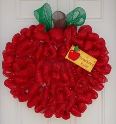mesh ribbon wreaths - Bing Images So doing this 4 my classroom Teacher Wreaths, School Wreaths, Wreath Crafts, Diy Wreath, Wreath Ideas, Apple Decorations, School Decorations, Craft Gifts, Diy Gifts