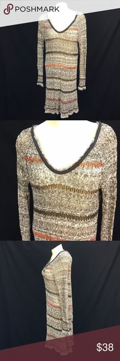 """Free People Sz M Open Knit Long Sweater *  Open knit long sweater by Free People; size M  * Earth tone stripes; long sleeves; tulip-style back; brown trim at neckline  * Please refer to item measurements and photos for item details!  Item Measurements: Size: M Shoulder-shoulder: 16"""" Armpit-armpit: 23"""" Waist: N/A Overall Drop: 39"""" Sleeve: 28"""" Item Number: 2597 RR Free People Sweaters"""