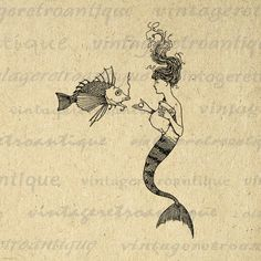 Digital Mermaid Image Graphic Mermaid and Fish Printable Illustration Download Antique Clip Art. High quality, high resolution digital illustration. This printable digital graphic is great for printing, transfers, and many other uses. Real vintage clip art. Personal or commercial use. This digital image is high quality, large at 8½ x 11 inches. A Transparent background png version is included.
