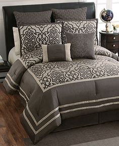 Adahlia 8 Piece Queen Comforter Set - Bed in a Bag - Bed & Bath - Macy's Bed Sets, Bedroom Furniture, Bedroom Decor, Bed Cover Design, Designer Bed Sheets, Bed Cushions, Bed In A Bag, Queen Comforter Sets, Luxury Bedding Sets