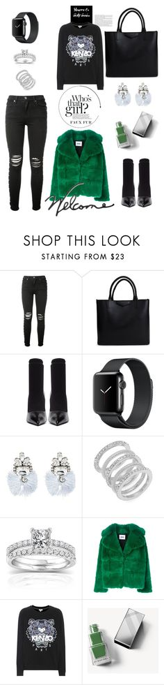 """""""That girl in the green coat"""" by felicitysparks ❤ liked on Polyvore featuring AMIRI, Givenchy, Balenciaga, BaubleBar, Cole Haan, Annello, MSGM, Kenzo, Burberry and Williams-Sonoma"""