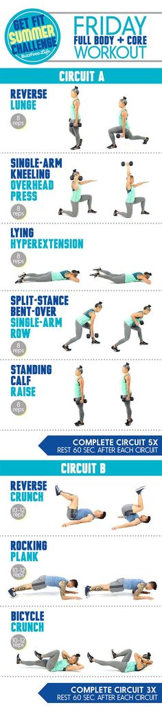This Quick Full-Body Workout Leaves No Muscle Behind . all you need is dumbbells and 30 minutes for a workout that challenges your whole body with an emphasis on your abs Full Body Workouts, Fitness Workouts, Quick Full Body Workout, At Home Workouts, Summer Workout Plan, Friday Workout, Workout Plans, Exercise Plans, Body Fitness