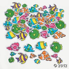 Beach Theme VBS: Fabulous Foam Self-Adhesive Tropical Fish Shapes $8.25 for 500 Pieces