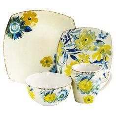 16 Piece Fiore Di Acqua Dinnerware Set. Spring dish set!!