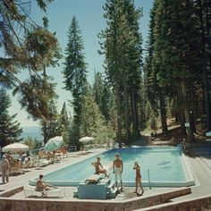 Bathers by a pool at the Tahoe Tavern on the shore of Lake Tahoe, California, (Photo by Slim Aarons/Hulton Archive/Getty Images)Image provided b. Lake Tahoe, Stephen Shore, Lake Pictures, Star Pictures, Richard Neutra, Fontainebleau, Fotografia Macro, Of Wallpaper, Looks Cool
