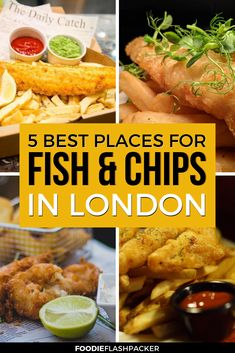 Fish and chips are a must try when you visit London, as evidenced by the fact that more than 250 million fish and chips meals are sold in the UK every year. But where can you find the best fish and chips in London? Here you'll find my 5 favorite places to Fish And Chips Restaurant, Restaurant Bar, London Fish And Chips, Best Fish And Chips, London Eats, London Food, Things To Do In London, London Places To Eat, Where To Eat London