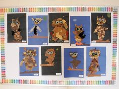 "The ""owl collages"" created by these 1st Grade students are adorable.  They sketched their owl on the paper, tore up brown paper and glued it onto the body, then painted the eyes on an egg carton.  For a fall themed bulletin board display and creative writing assignment, I'd add the title and writing topic ""This Fall It's a Hoot To Read!"""