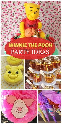 So many cute party decorations and ideas at this Winnie the Pooh girl birthday party!  See more party ideas at CatchMyParty.com!