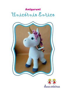 Unicornio amigurumi - Como Faço Crochet Bear Patterns, Animal Sewing Patterns, Christmas Crochet Patterns, Crochet Doll Pattern, Stuffed Animal Patterns, Crochet Dolls, Crochet Disney, Llama Stuffed Animal, Llama Plush