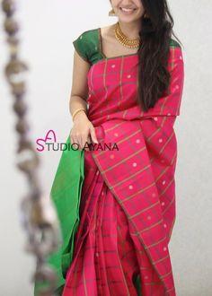 Silk Beautiful Pink Color Pure Satin Silk Sari With Blouse Kerala Saree Blouse Designs, Wedding Saree Blouse Designs, Saree Blouse Neck Designs, Cotton Saree Blouse, Silk Cotton Sarees, Cotton Silk, Printed Cotton, Saree Color Combinations, Silk Saree Kanchipuram
