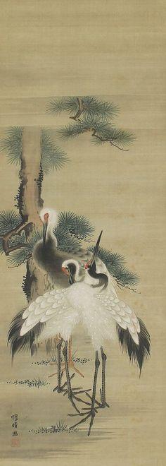 antique paintings of birds | Antique Japanese Art Painting Crane in Pines Bird and Flower Kakejiku ...